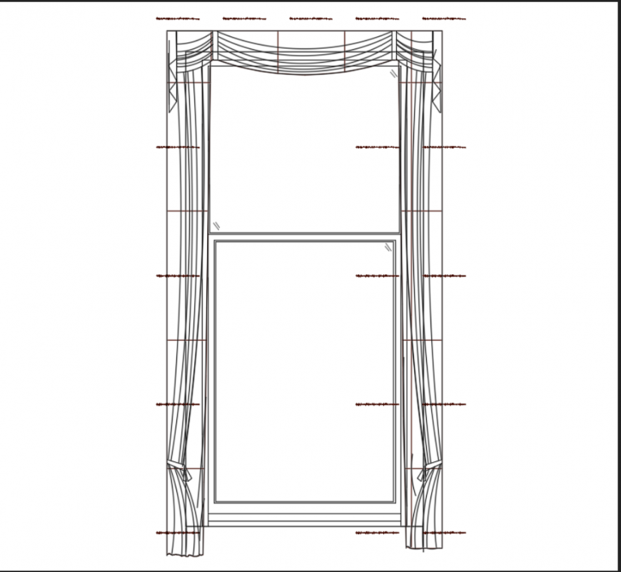 Curtain elevation with windows view of house dwg file