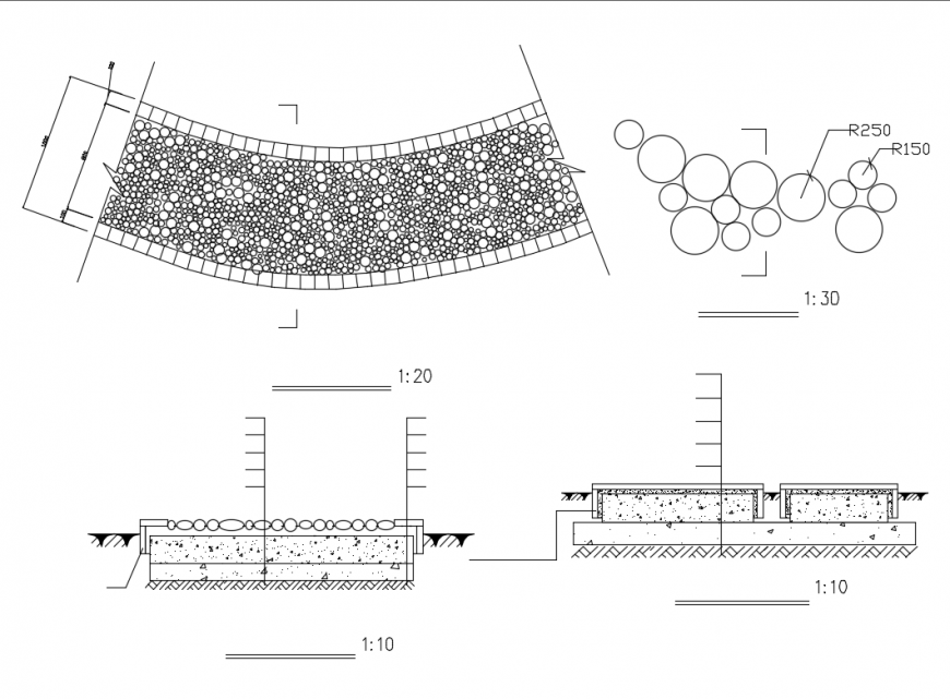 Curved cad pavement landscaping construction drawing details dwg file
