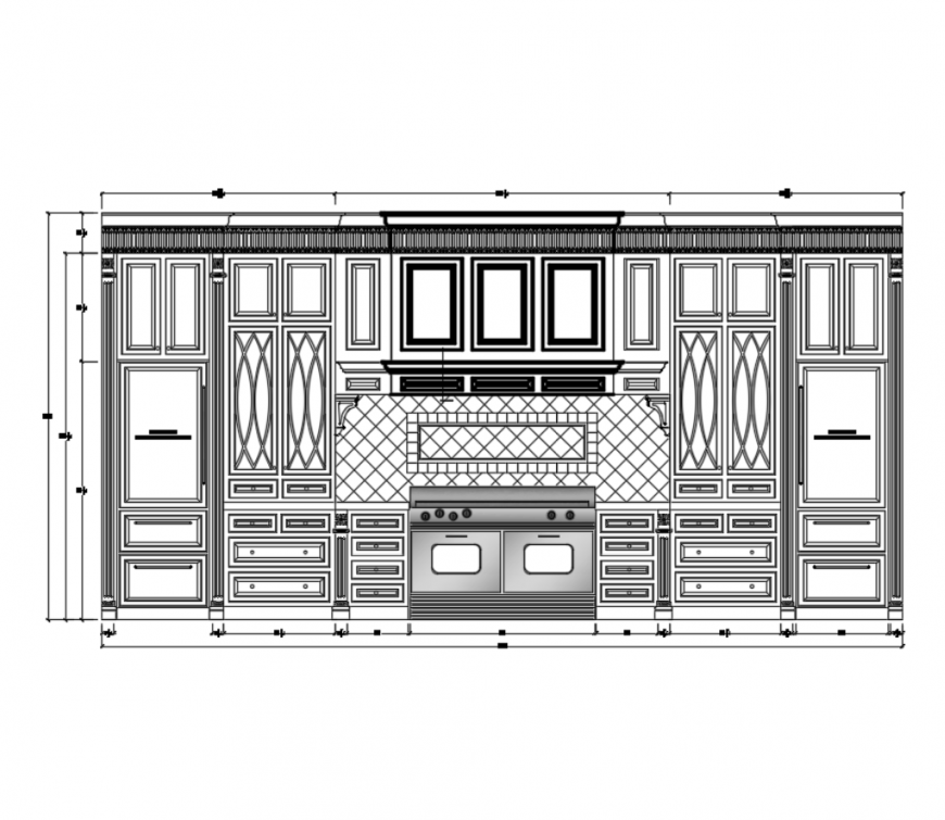 Custom house kitchen plan and interior details cad drawing dwg file