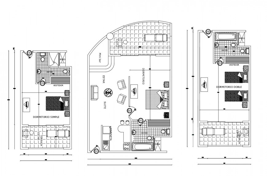 Customer room suite plan of hotel in auto cad file