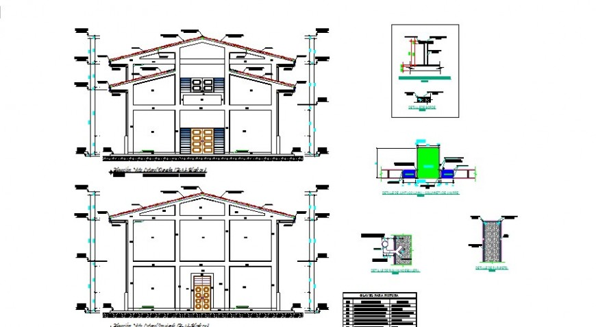 Cut facade and back constructive sectional drawing details of auditorium hall dwg file