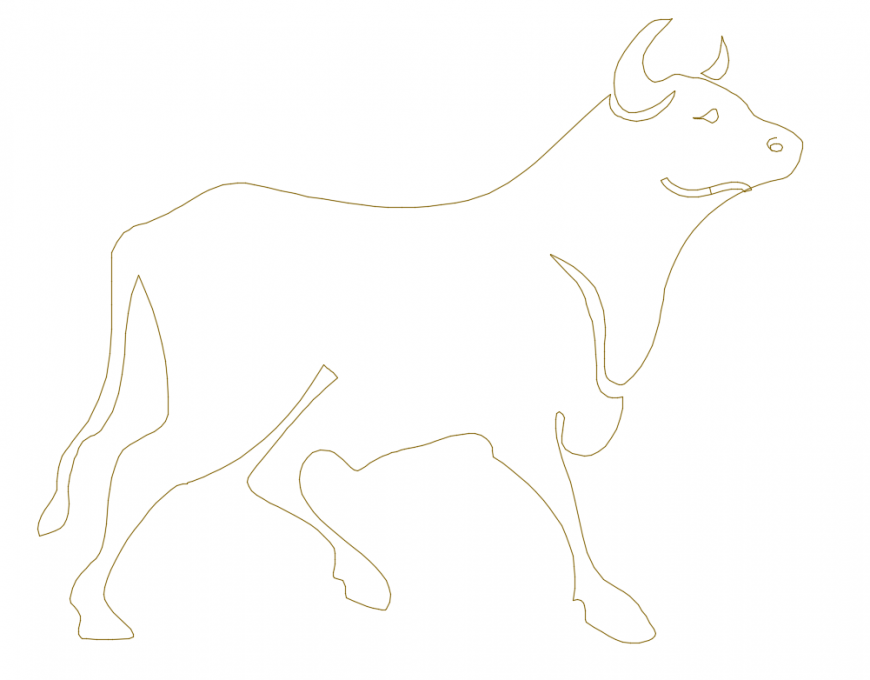 Cute animal cow side view elevation cad block design dwg file