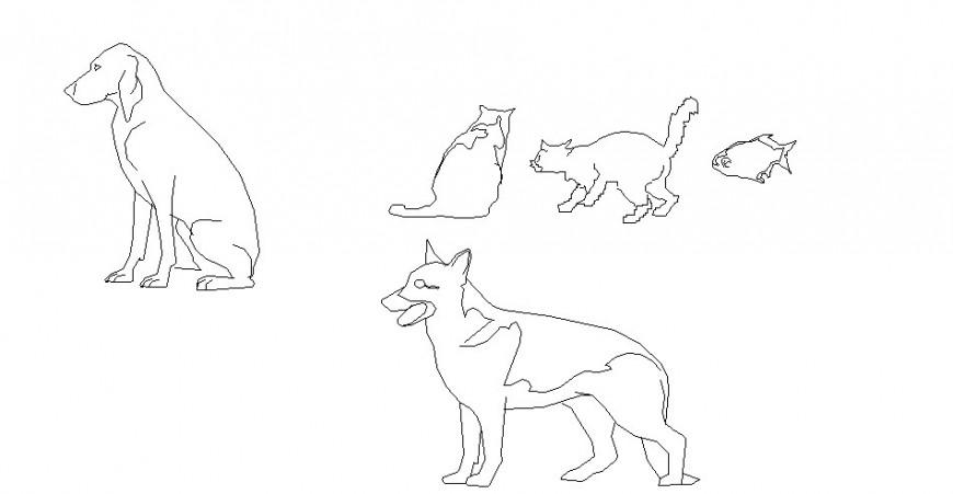 Cute animal elevation blocks cad drawing details dwg file