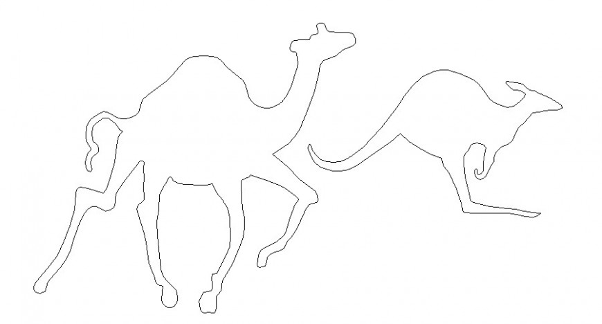 Cute camel and kangaroo side elevation 2d block cad drawing details dwg file