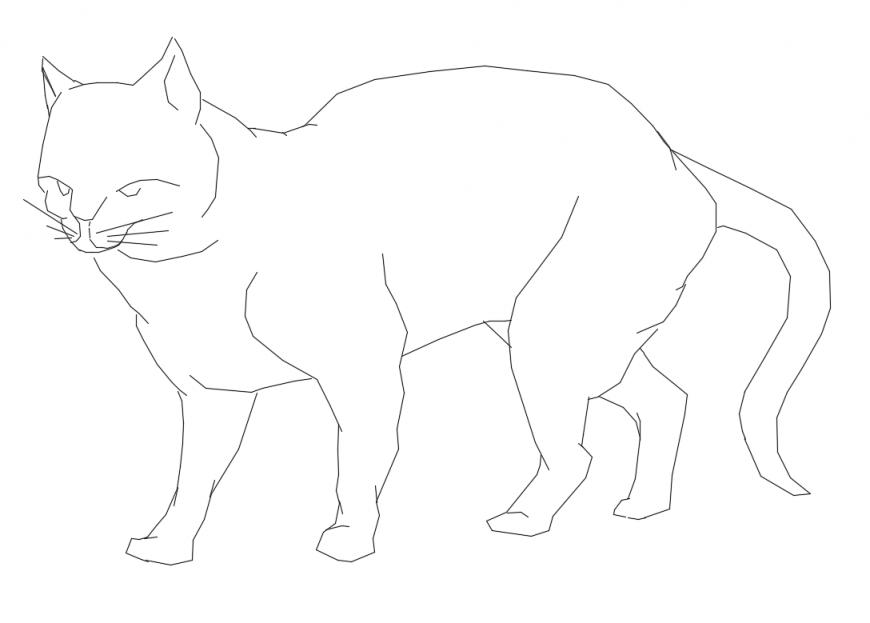 Cute cat animal side elevation cad block details dwg file