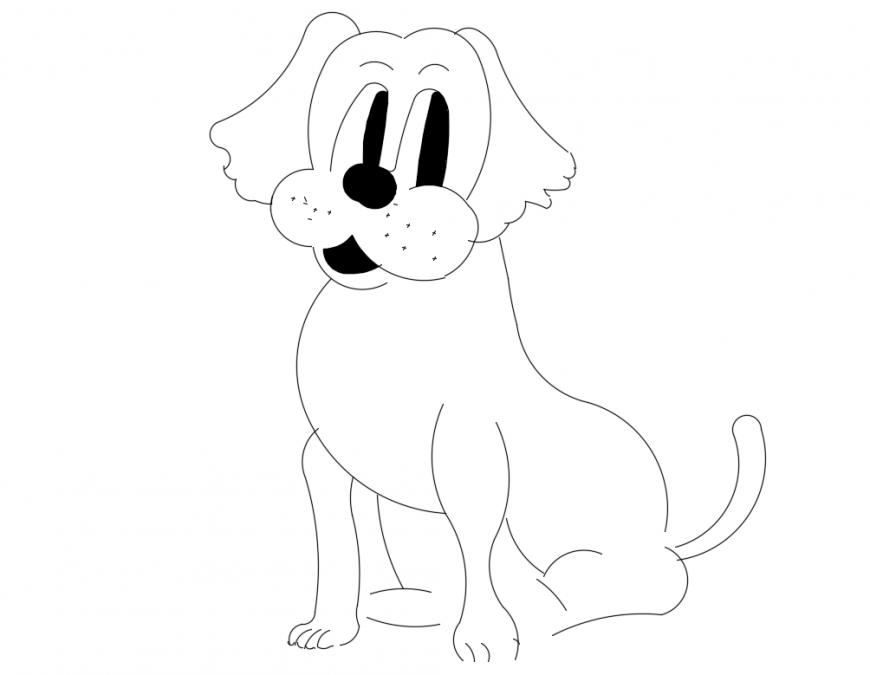 Cute pet dog front view elevation cad block details dwg file