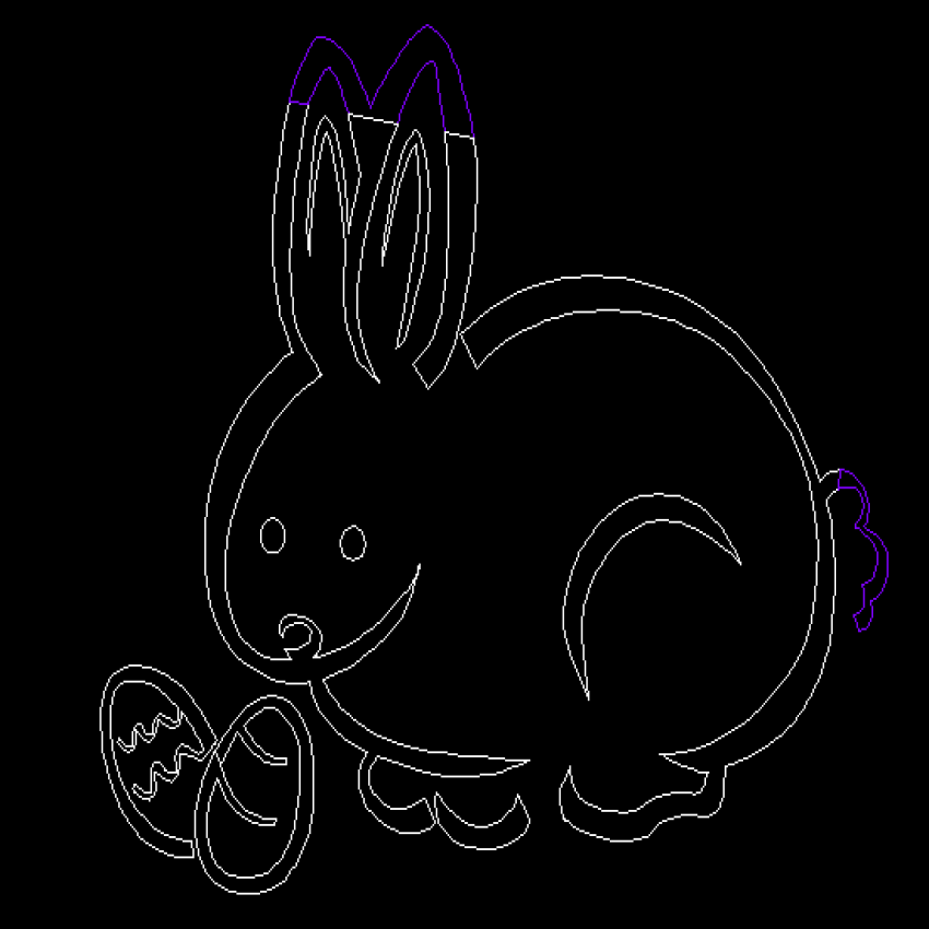 Cute small rabbit sideview cad block design dwg file