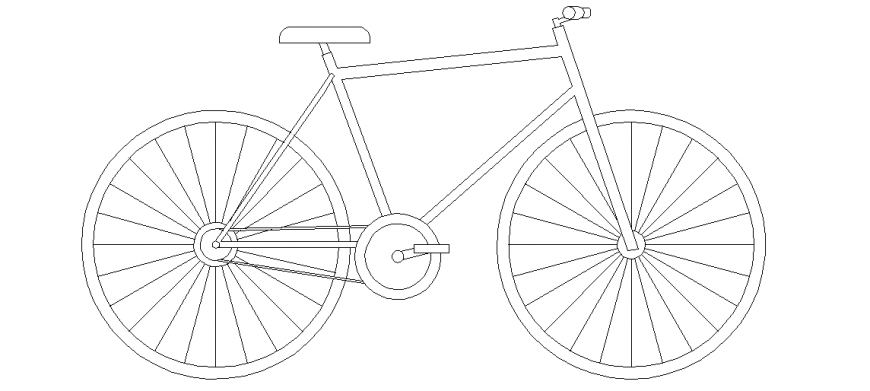 Cycle design with its elevation of the block view dwg file