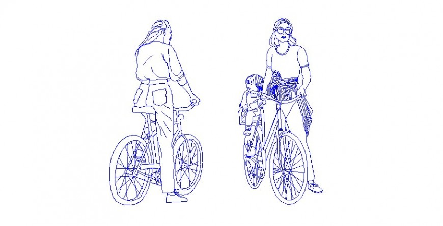 Cyclist women elevation block with children cad block details dwg file