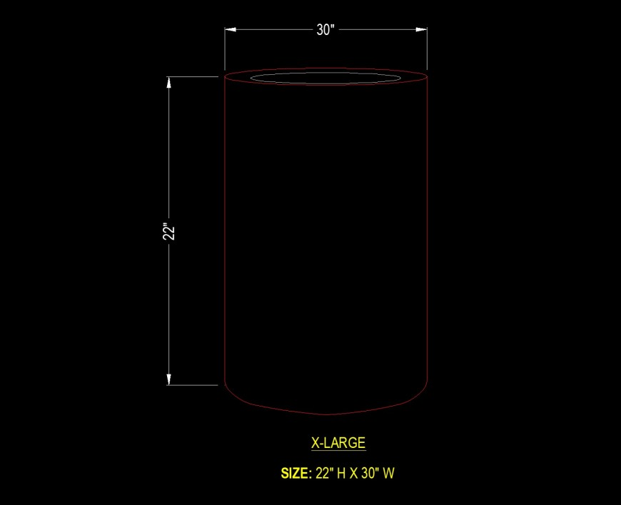 Cylinder planter detail drawing in dwg file.