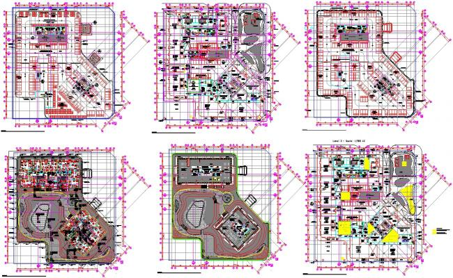1 to 5th floor commercial complex architecture floor plan