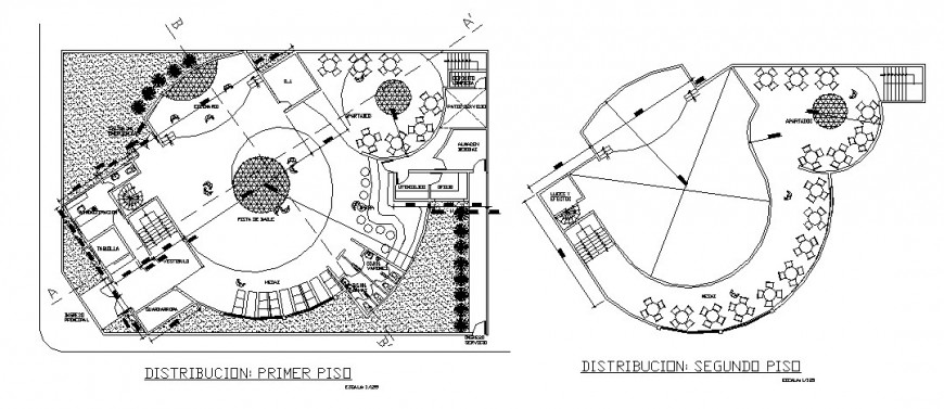Dance club ground and first floor distribution plan cad drawing details dwg file