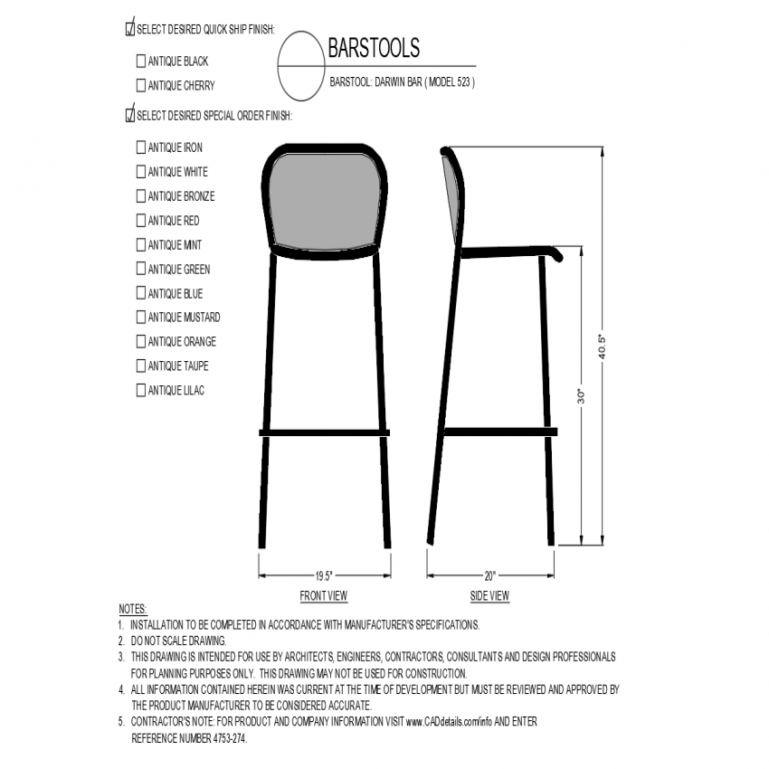 Darwin bar model  front and side view of chair dwg file