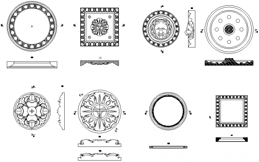 Decorative household rosettes blocks cad drawing details dwg file