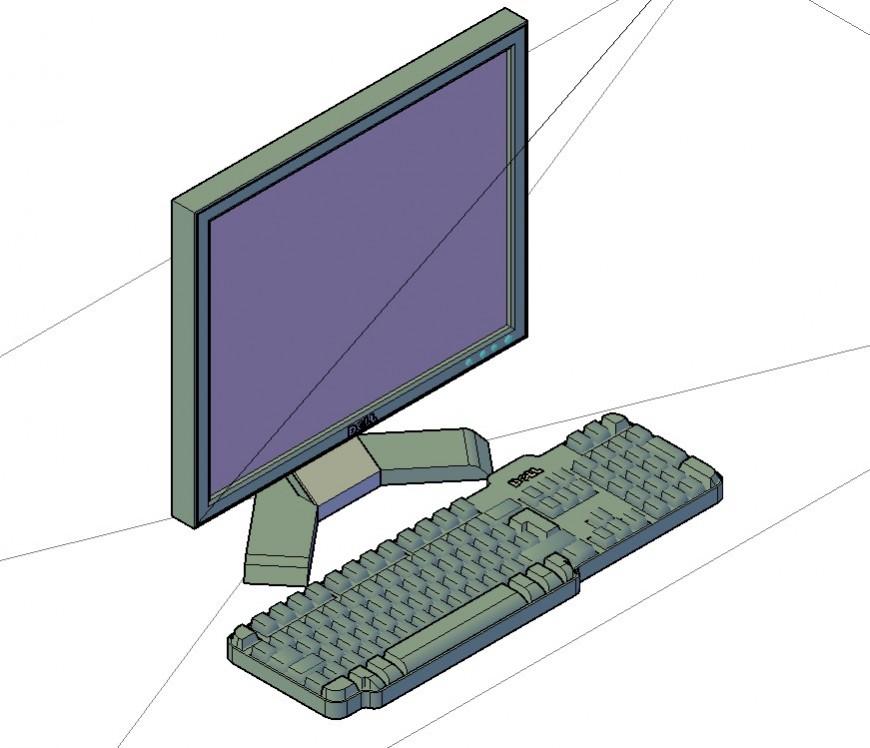 Dell company computer detail 3d model CAD block autocad file