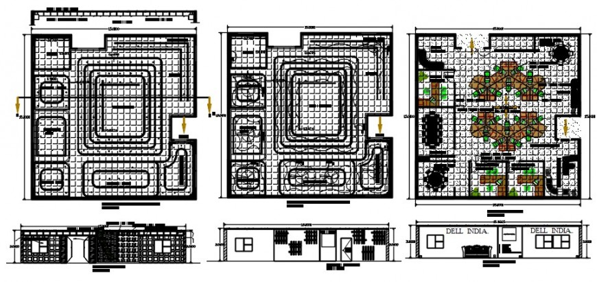 Dell india corporate office building elevation, section and floor plan drawing details dwg file