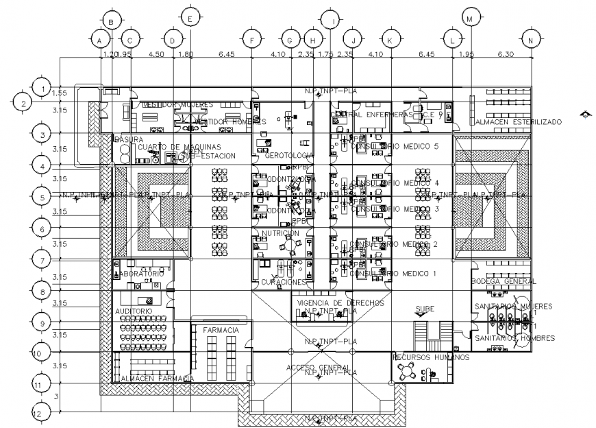 Dental clinic and collage working layout plan in dwg AutoCAD file.