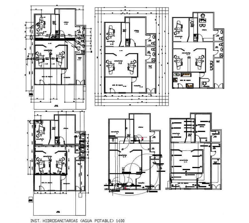 Dental clinic building 2d view drawing in autocad software file