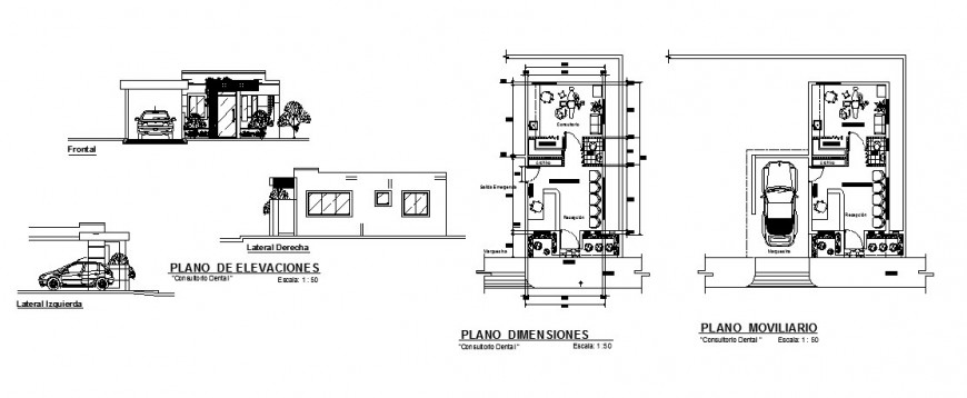Dental clinic building working plan and elevation in autocad