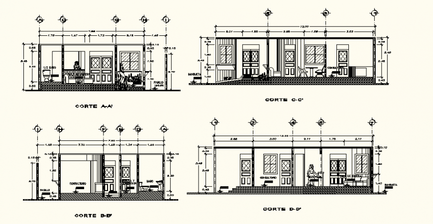 Dental clinic detail elevation drawing in dwg AutoCAD file.