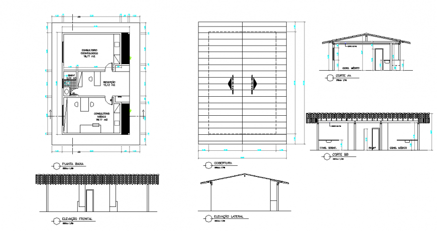 Dental Clinic Plan & All side Elevation detail