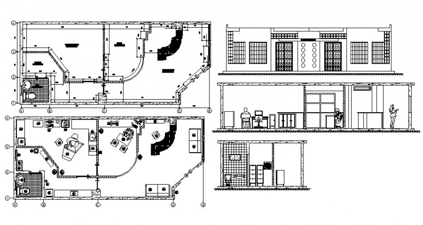 Dental clinic work plan details plan elevation and section in autocad