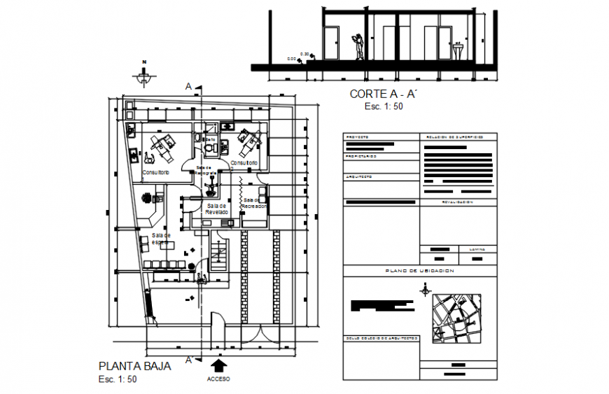 Dental consultant clinic plan and elevation in auto cad file