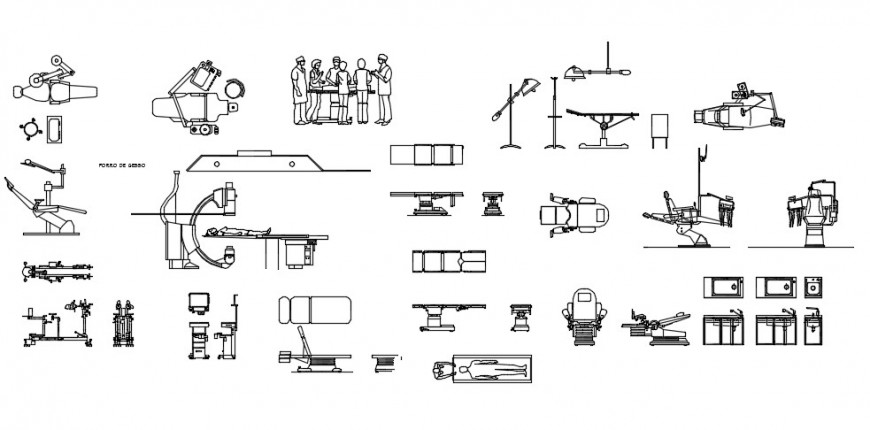 Dentist chair and hospital equipments 2d block detail dwg file