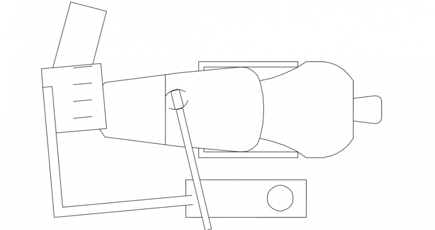 Dentist chair top view plan detail 2d dwg file