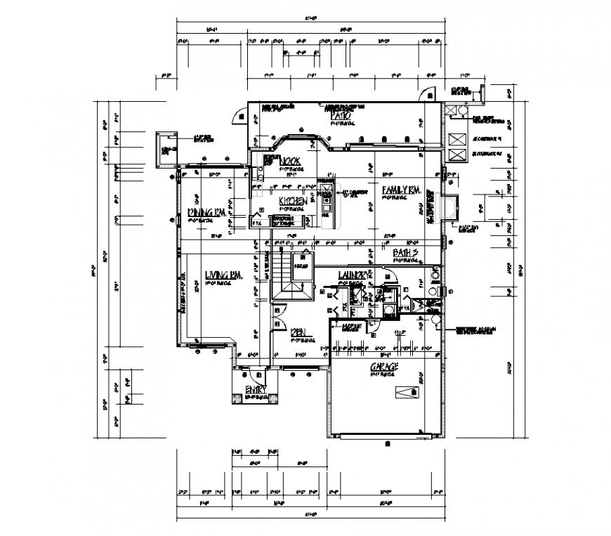 Design of architectural detail with plan of residential area dwg file