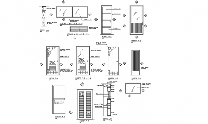 Design of different types of door and window view dwg file