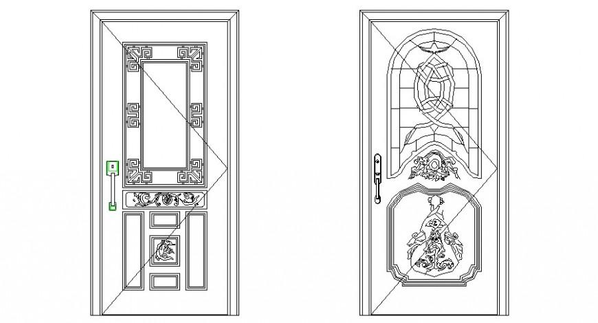 Design of door blocks details 2d view elevation autocad file