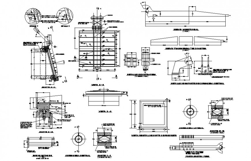 Design of gate drawings details 2d view plan and section dwg file