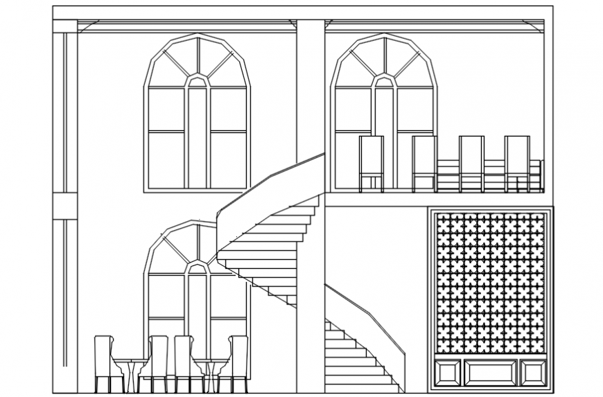 Design of hotel with elevation in AutoCAD software
