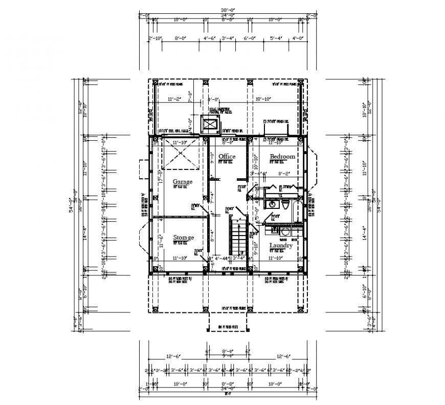 Design of house plan with architectural detail dwg file