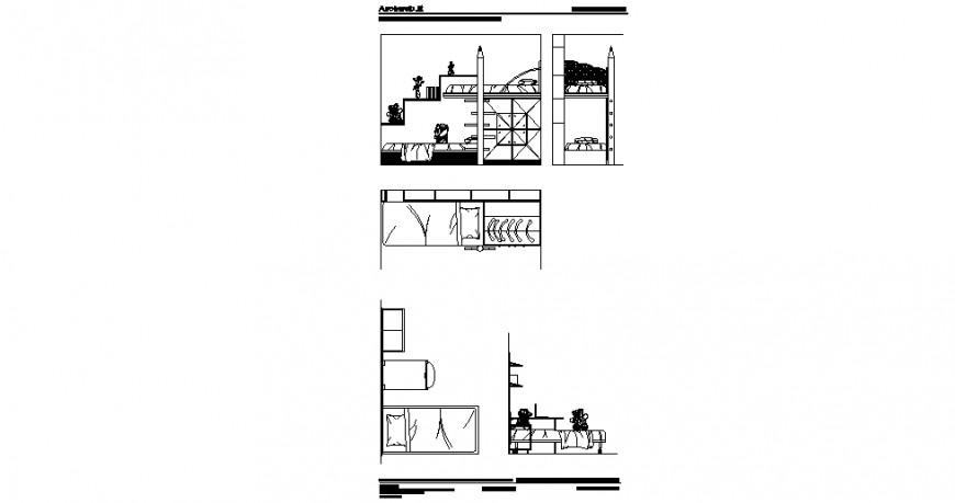 Design with bedroom furniture elevation and plan dwg file