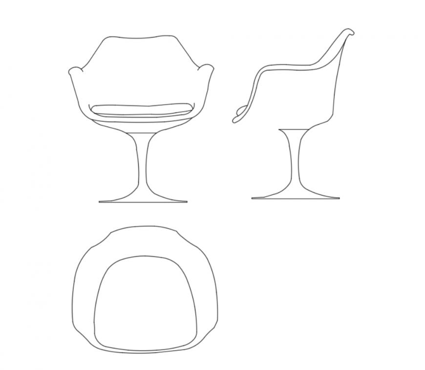 Designer chairs cad block design dwg file