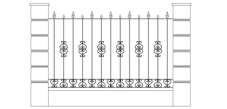 Designer grill gate design of door dwg file