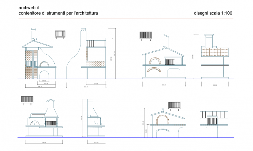 Designer home elevation and side view dwg file