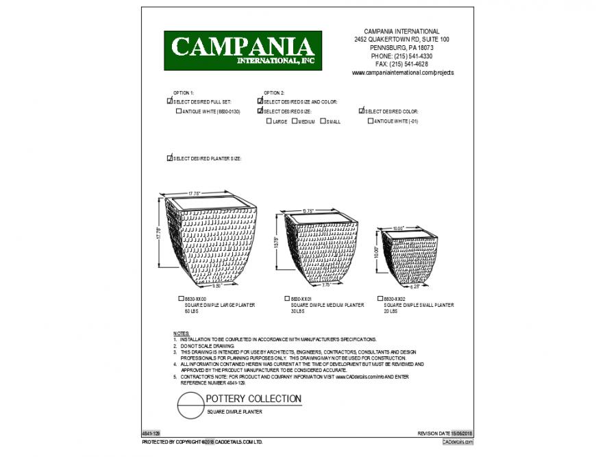 Desire set of square dimple planters cad block details dwg file