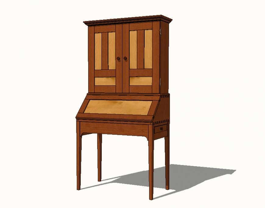 Desk table detail elevation 3d model Sketch-up file