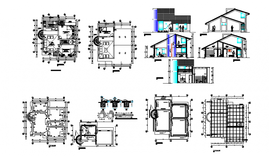 Detached house full project type plan autocad file