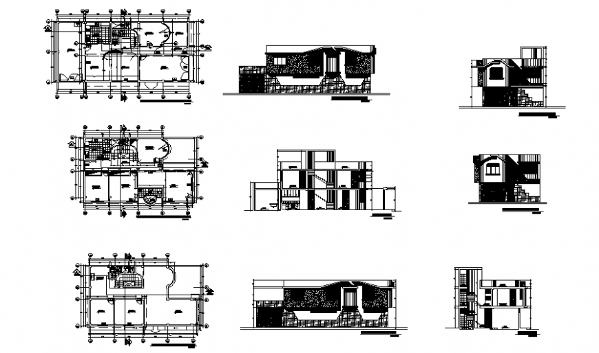 Detached house plan, elevation and section autocad file
