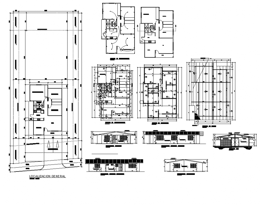 Detached house with construction details elevation and plan layout file