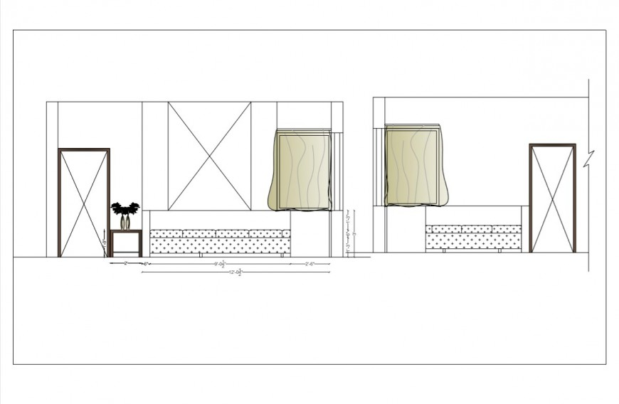 Detail 2d elevation of drawing room layout pdf file