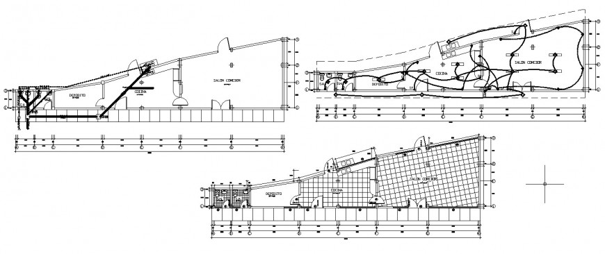 Detail 2d plan of a building with electrical installation autocad file