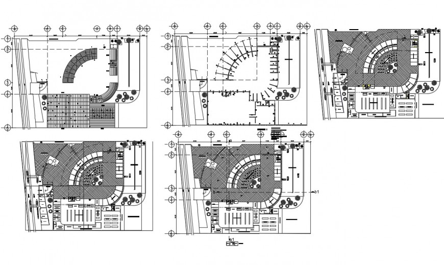 Detail 2d plan of five story building structure layout file in autocad format