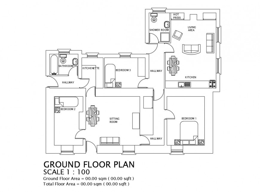 Detail 2d plan of housing structure single story autocad file