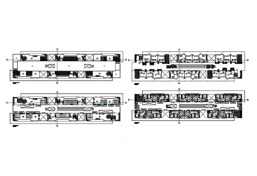 Detail 2d plan of multi-story building structure Autocad file