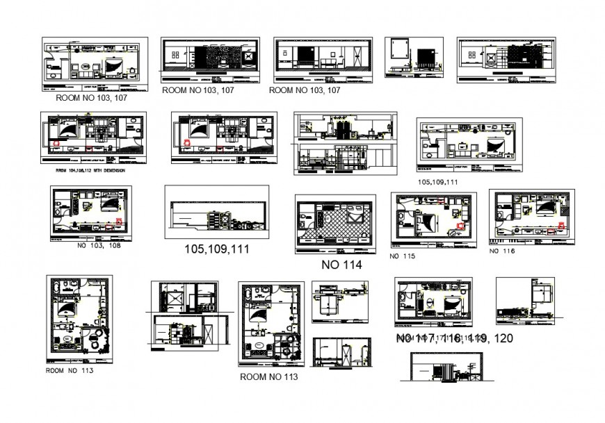 Detail 2d view hotel bedroom plan and elevation block layout file in dwg format